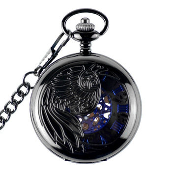 Hollow Skeleton Black Automatic Mechanical Pocket Watch Men