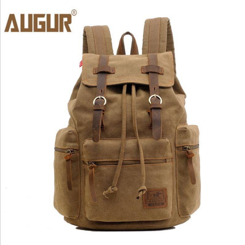 AUGUR Crazy Horse vintage durable canvas mochila men s backpack school bags men travel bags large