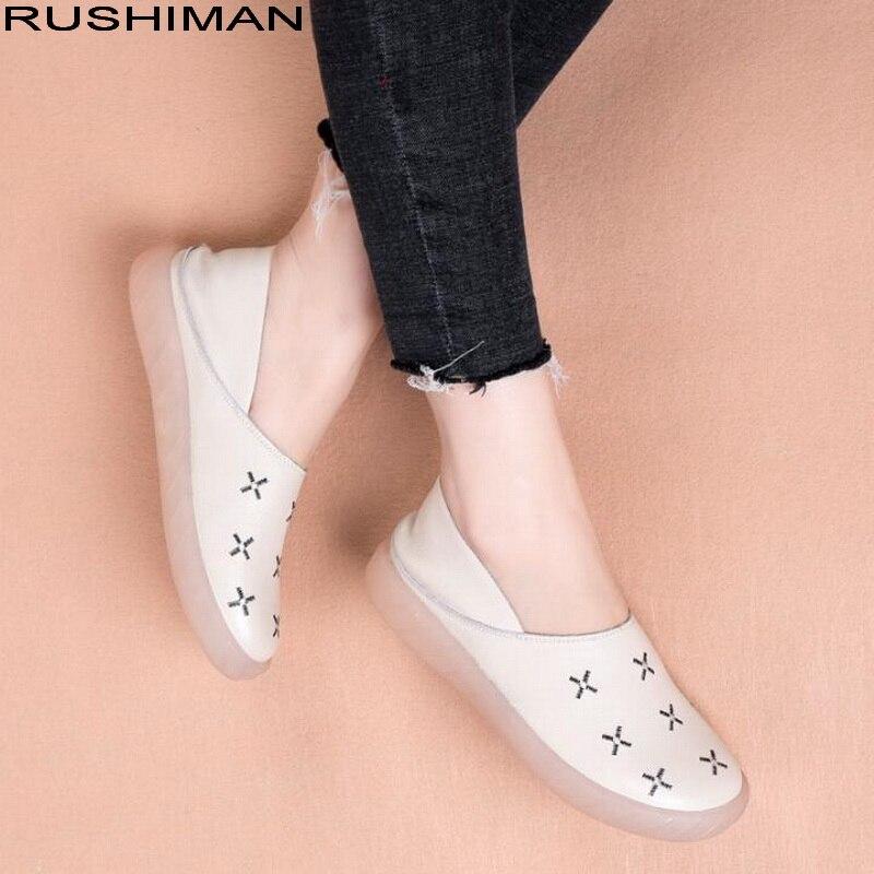 RUSHIMAN femmes chaussures plates décontracté cuir véritable casual appartements chaussures dames mocassins chaussures de conduite confortables