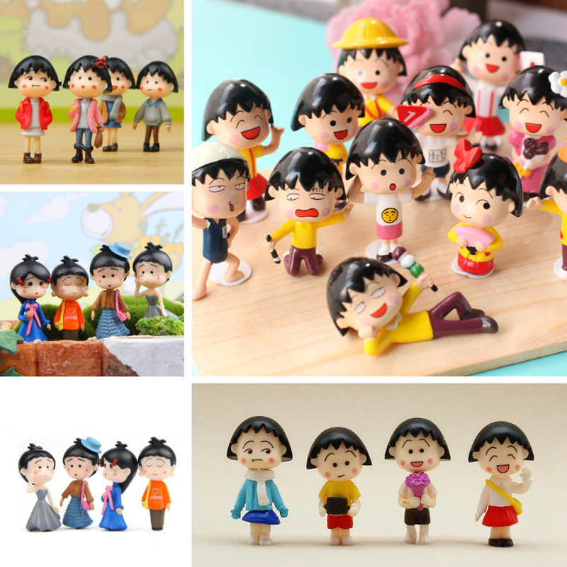 BAIUFOR People Miniatures Anime Girl Maruko Series Terrarium Miniature Fairy Garden Figurines Landscape Decor Home Accessories