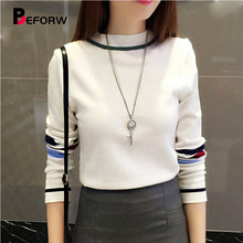BEFORW 2018 Fashion Korean Sweater Turtleneck Long Sleeve Sweaters Pullovers Stripe Casual Knitted Basis Sweater Women Clothes(China)