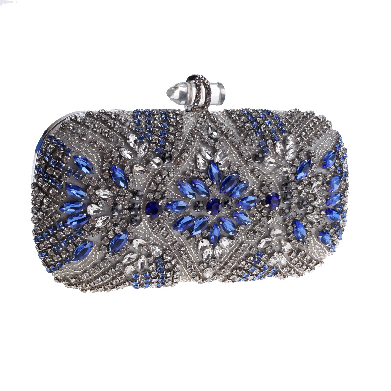 Luxury Clutch Purse Women Blue Crystal Diamond Evening Bags Beaded Shoulder Party Bag Bridal Wedding Party Day Clutches Handbags retro 2017 floral beaded handbag women shoulder bags day clutch bride rhinestone evening bags for wedding party clutches purses