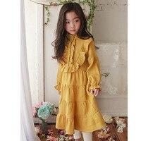 Petal Sleeve Children Dresses Girls New 2017 Clothing Korean Autumn Dresses 2017 Kids Clothes Fashion Big