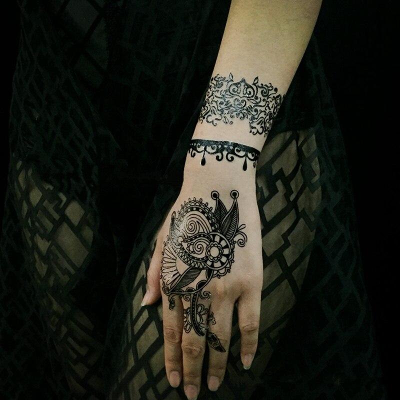 50 Sztuk Czarne Koronki Henna Tatuaż Naklejki Biżuteria