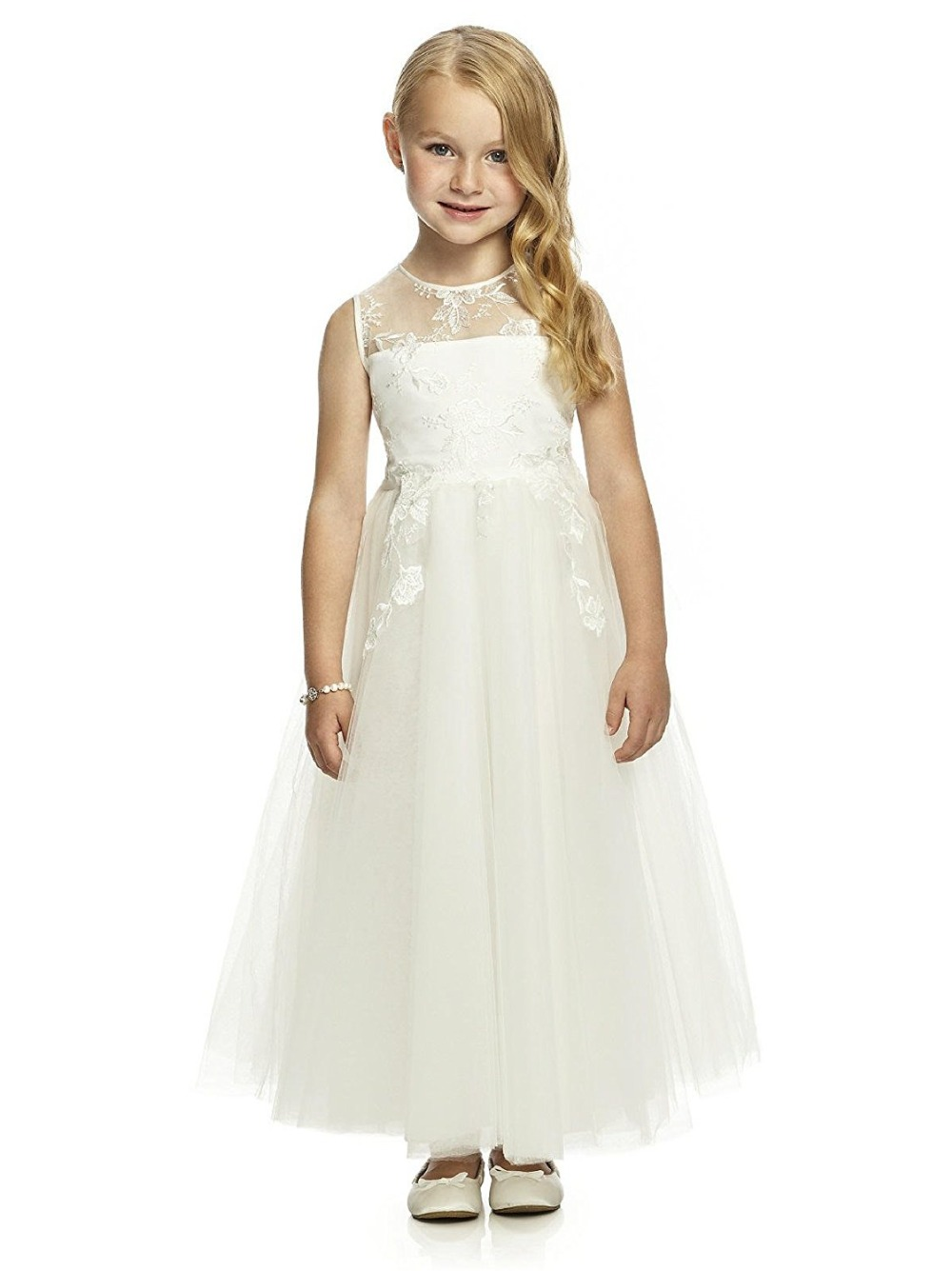 Lace Embroidery A-Line   Flower     Girl     Dresses   Tulle Holy First Communin   Dresses   Gown