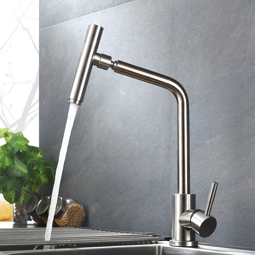 SUS 304 stainless steel Brushed Nickel paints Spool Mixer Water Rotating Faucet Kitchen Faucet Hot And Cold Double Control Tap цена