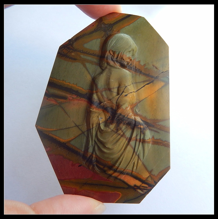 Natural Stone Carved Ancient Chinese Women Multi-Color Picasso Jasper Cabochon 73x53x6mm 46.76g Fashion Jewelry Accessories