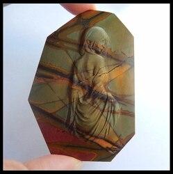 Piedra Natural tallada Antigua China mujeres multicolor Picasso jaspe cabujón 73x53x6mm 46,76g accesorios de joyería de moda