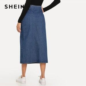 Image 2 - SHEIN fente avant bouton Up Denim jupe droite décontracté taille moyenne femmes Morden Lady Street porter jupes 2019 été Slim jupe