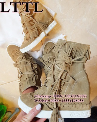 Hot Wedge Suede Fringed Women Ankle Booties Lace Up Tassel Height Increasing Ladies Short Boots Wedge High Heels Casual Shoes
