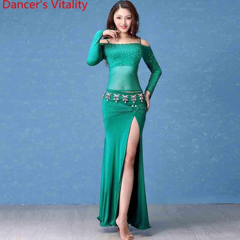 Winter Belly Oriental Indian Dance Costume Diamond Long Sleeves Top Skirt Set Woman Lady Girls Rumba Samba Tango Dancewear Cloth