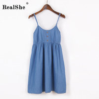 RealShe Women Summer Dress 2017 Woman Sleeveless Floral Print Beach Mini Spaghetti Strap Dress Woman Sexy