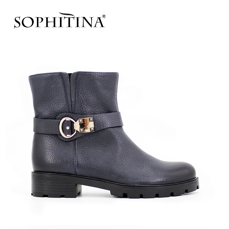 все цены на  SOPHITINA High-end Genuine Leather ankle boots Zipper Dark Blue Wine Red Medium heel Metal Decoration handmade shoes woman B014  в интернете