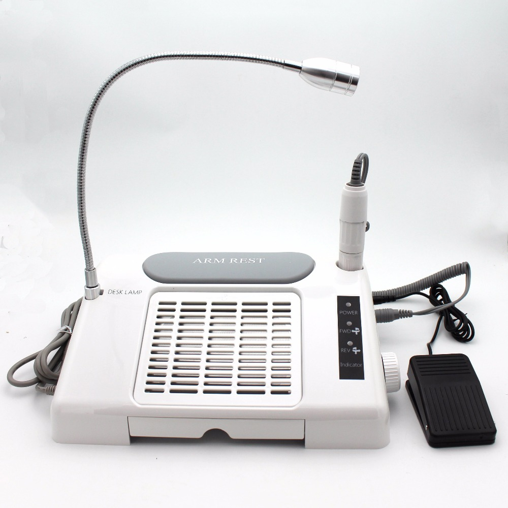 3 in 1 Multifunctional Salon Nail Art Equipment Tool Nail Art Drill Suction Dust Collector Machine with Desk Lamp soft leather nail art fan salon suction dust collector manicure filing acrylic uv gel tip machine vacuum cleaner salon tool