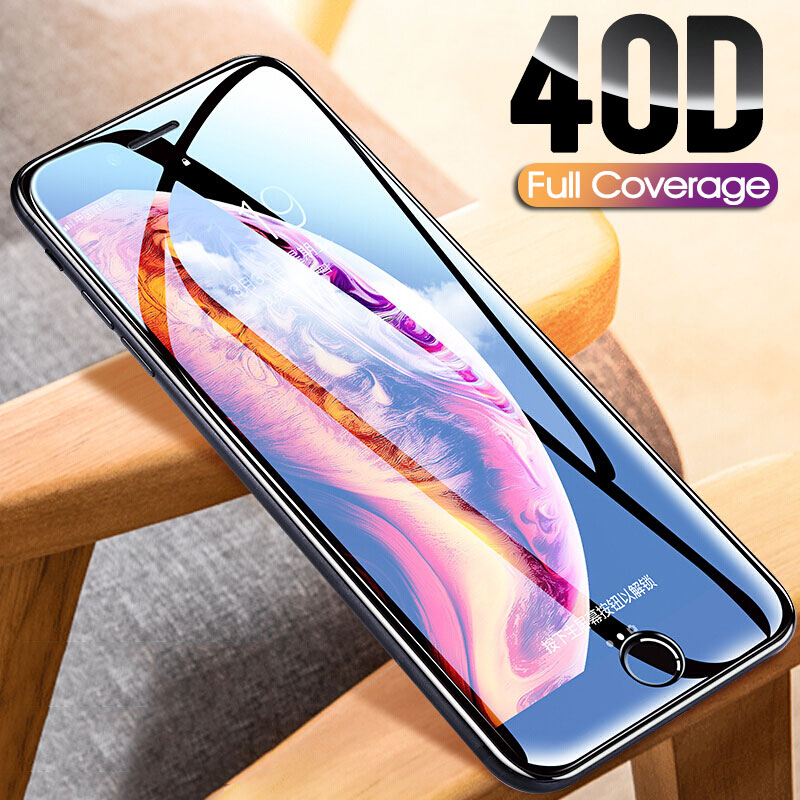 40D Full Cover Tempered Glass For Iphone 8 7 Plus 6 6s Glass Screen Protector On The Iphone X XS MAX XR 5 5S SE Protective Glass