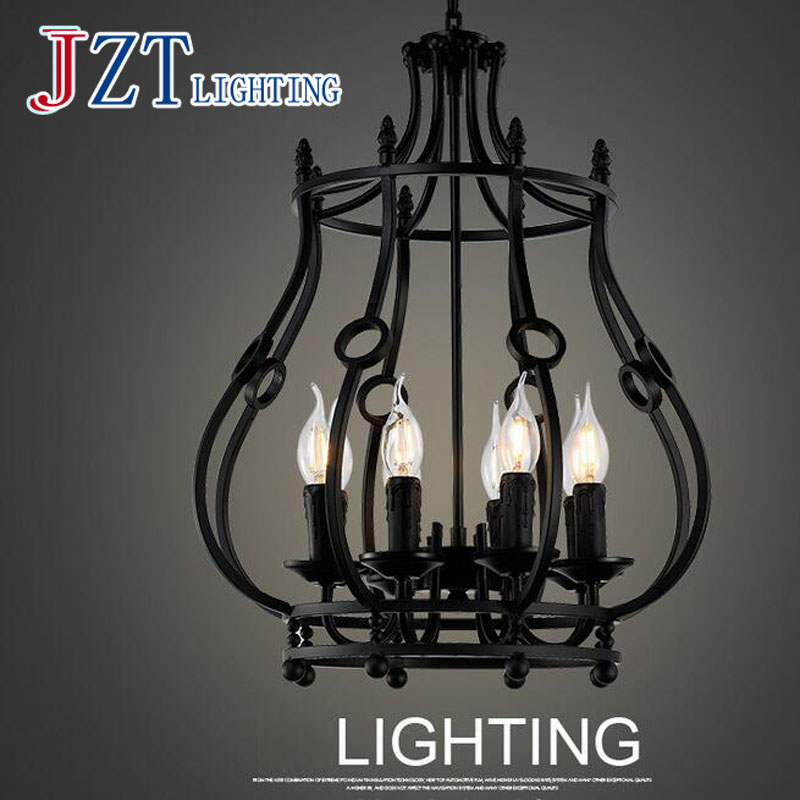 T American Country Rrtro Black Pendant Light With LED E14 Bulbs Creative LOFT Iron Cage Lamp For Bar Restaurant Artistical