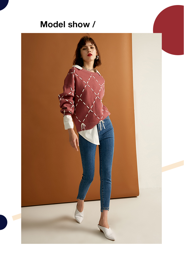 Sexy And Refined Womens Winter Youth New Elegant Loose Rope Lace Knit Sweater Trendy Diamond Lattice Tie-up Classic Design Show 22