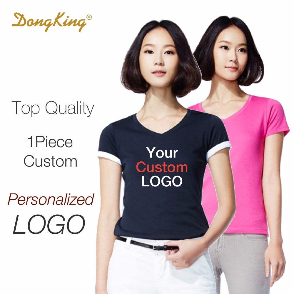 DongKing Personalizados Señoras Cabidas Camisetas Mujeres V cuello Personalizado