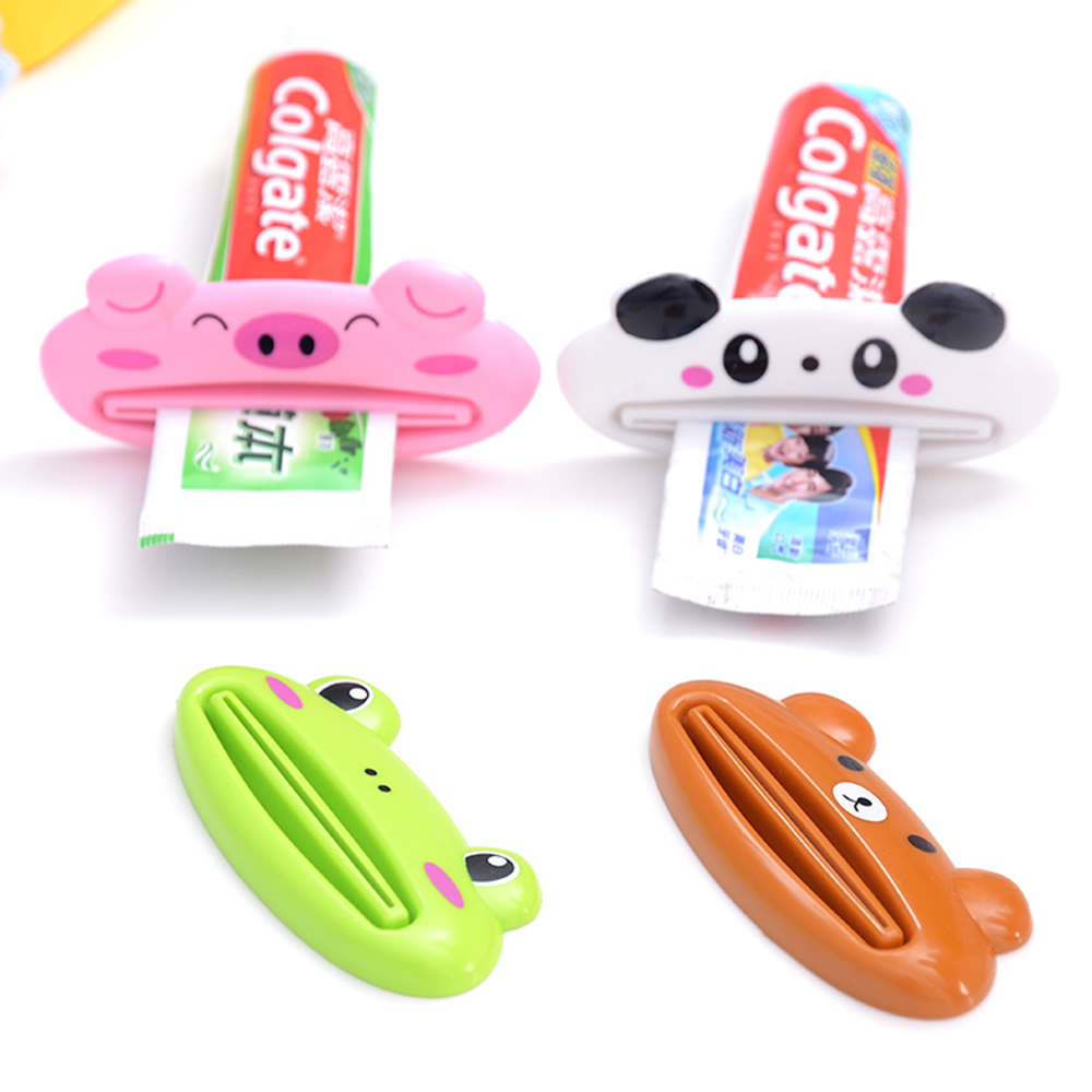 New Bathroom Home Tube Rolling Holder Squeezer Easy Cartoon Animal Toothpaste Dispenser
