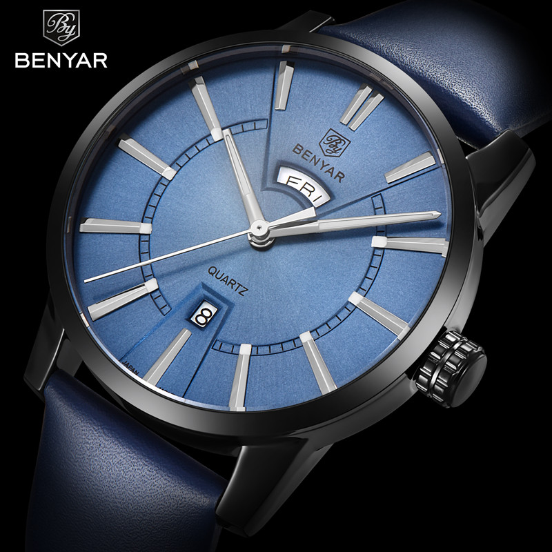BENYAR Watch Mens Luxury Brand Quartz Blue Watches Fashion Business Male Leather Wristwatch Waterproof Clock Relogio MasculinoBENYAR Watch Mens Luxury Brand Quartz Blue Watches Fashion Business Male Leather Wristwatch Waterproof Clock Relogio Masculino