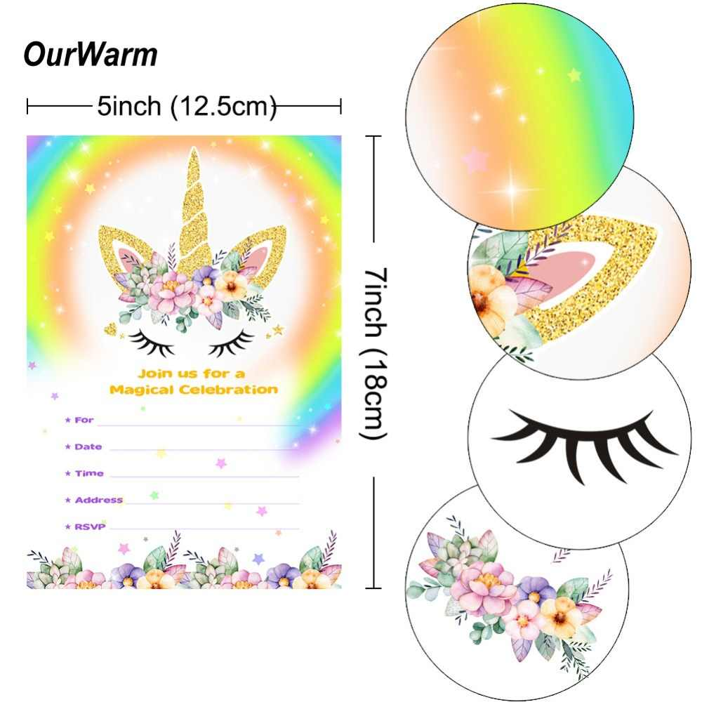 Ourwarm 10 Set Unicorn Party Supplies Baby Shower Invitations Cards With Envelopes Thank You Sticker Blank Birthday Cards