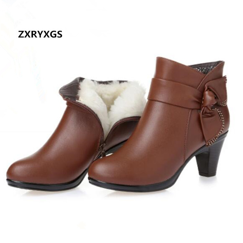 2019 New Elegant Fashion Winter Women Boots Cowhide Plus Velvet and Wool Snow Boots Middle aged