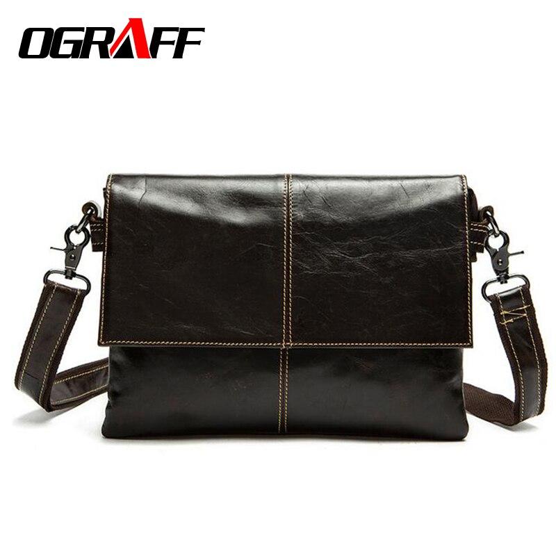 OGRAFF Genuine leather bag men Messenger Bags casual briefcase brand vintage Crossbody Shoulder Bag business Men's Travel Bags
