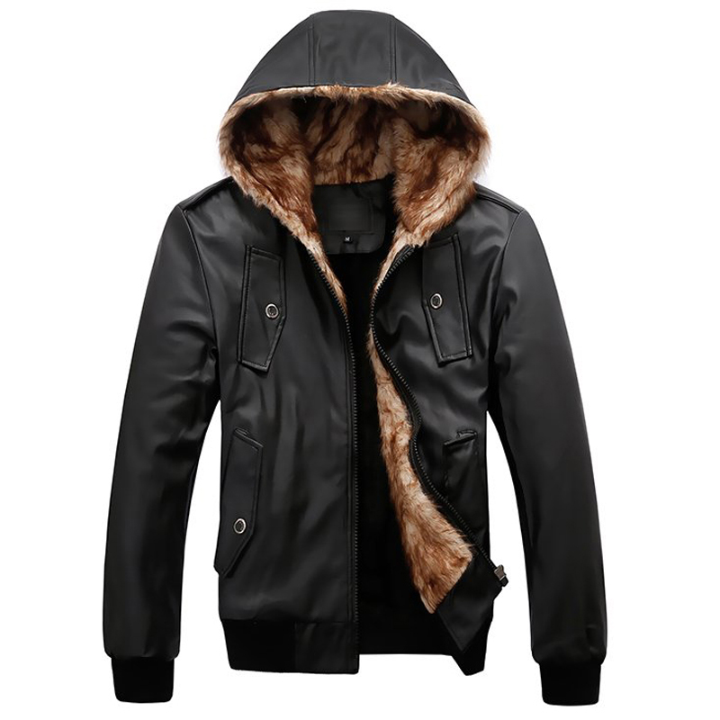 European Appear Winter Fur Leather Jackets Mens Hooded Collar Male Fur Overcoat Pockets England Vintage Mens Leather Coats C736