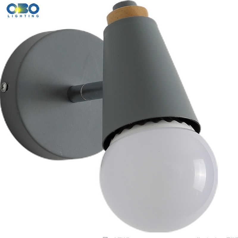 Современные Макарон настенный светильник железного дерева зеркало свет прикроватной Спальня Освещение в помещении E27 лампочка Ретро светодио дный настенный светильник Nordic