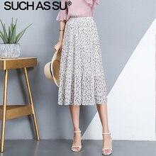 New Chiffon Print Skirts Women Clothes 2019 Spring Summer White High Waist Pleated Skirt Elastic One Size Slim Midi Skirt