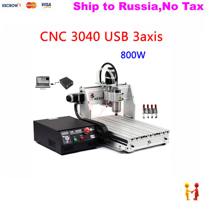 (NO TAX  TO Russia) 3040  cnc machine with 800W VFD water cooling spindle mach3 control with USB port no tax to russia high precision china cnc machine 6040 3axis usb with 1 5kw vfd water cooling spindle mach3 remote control