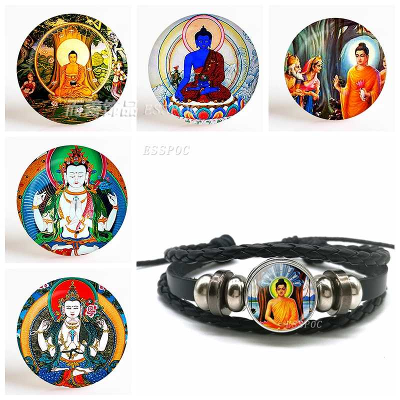 בודהה זכוכית קרושון תכשיטי שחור כפתור עור צמיד בודהה שרשרת בודהיסטי מזל טוב קמעות גברים דת מתנות