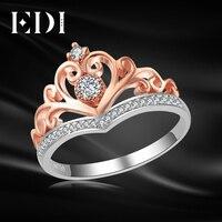 EDI Classic CROWN Real Natural Diamond Wedding Rings For Women 14k 585 Rose White Gold Engagement