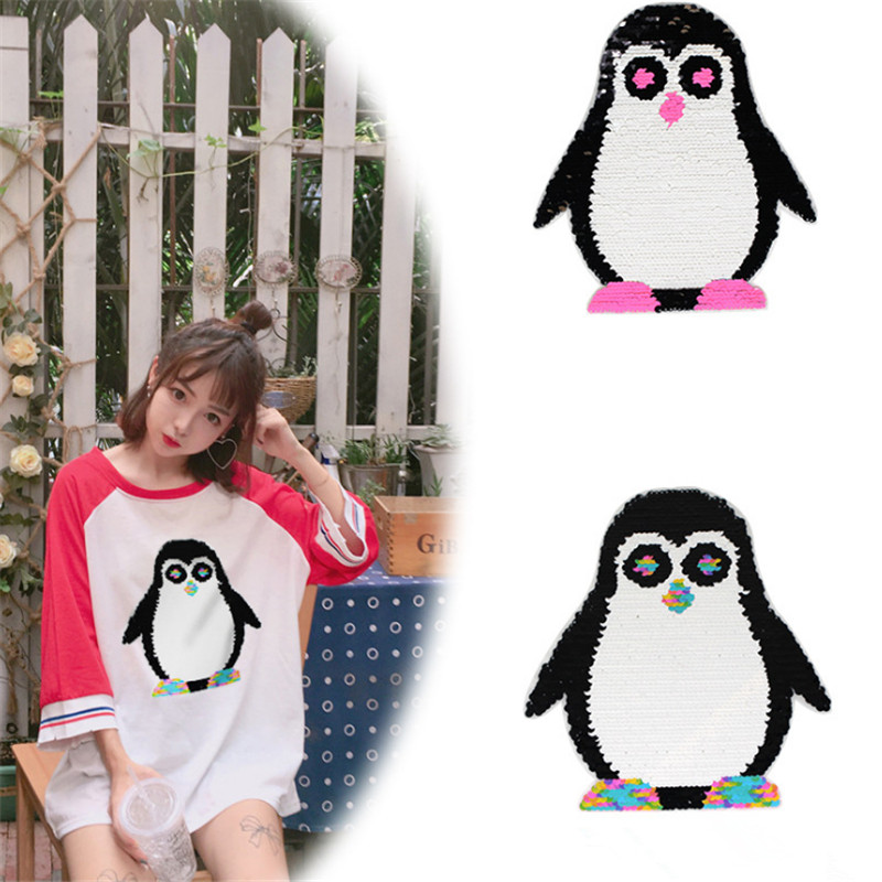 T shirt Women 24cm penguin flip the double sided sequins deal with it girl patches for clothing 3d t shirt mens Christmas gift