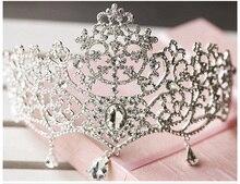Diademe corona celada de novia de la boda de lujo del pelo accesorios pelo de la boda Tiara Diadema de copo de nieve de cristal de la joyería bijoux mujeres