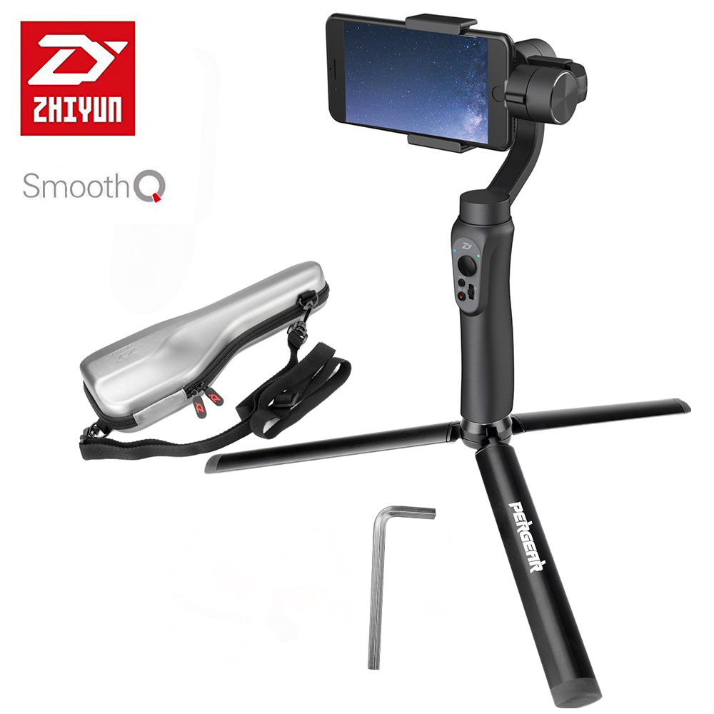 In Stock Zhiyun Smooth Q 3-Axis Handheld Gimbal Stabilizer with Aluminum Tripod +Selfie Light for iPhone 7 6S Plus Samsung S8 S7 недорого
