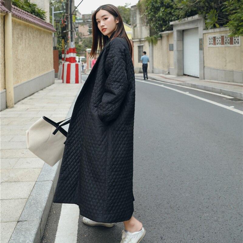LANMREM New Fashion Black Oversize Lapel Back Vent Button Winter Jacket 18 Female's Long Cotton Coat Jaqueta Feminina WTH11 4