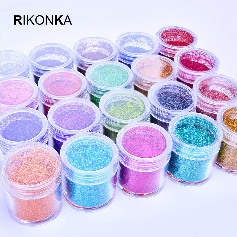 Image 5 - Rikonka 1 Bottle Fine Holographic Glitter Powder Shining Sugar Nail Glitter Set Sequins Dust Powder Nail Art Decorations 0.2mm-in Nail Glitter from Beauty & Health