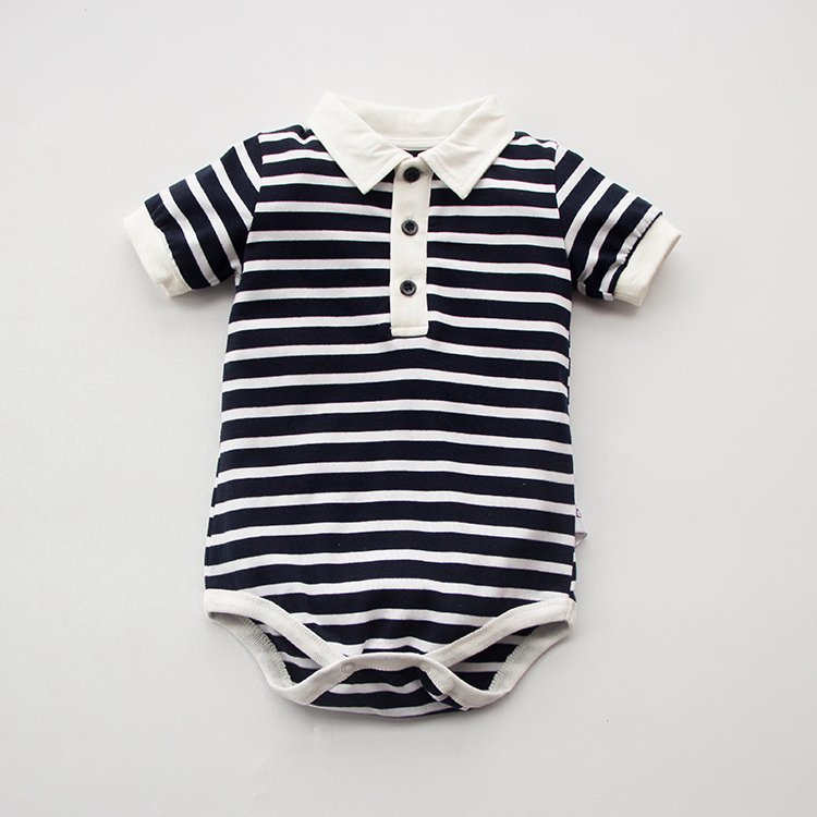 Newborn baby cotton summer   rompers   short sleeve polo striped baby girl turn-down collar gentleman style baby jumpsuits outfits