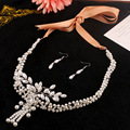 Fashion vintage necklace earrings wedding jewelry bridal jewelry set for women flower pendant pearl jewelry handmade for women