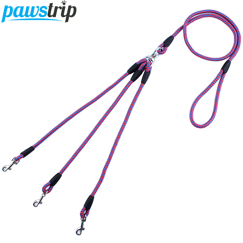 "2/3 Way Couplers Pet Walking Running Dog Leash Lead 55 ""Long Braided ნეილონი ორმაგი ძაღლი Leash თოკი 2 / 3Dogs"
