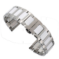 18mm 20mm Watches Bands High Quality Silver Stainless Steel With White Ceramic Width Watchband Strap Bracelet
