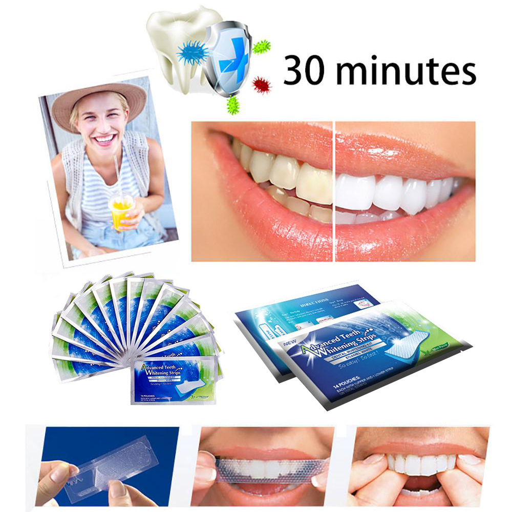 Y&W&F 10pcs/5 Pairs 3D Teeth Whitening Strips Advanced Teeth Strips Oral Hygiene Teeth Whitening Strips For Oral Care Tool TSLM2