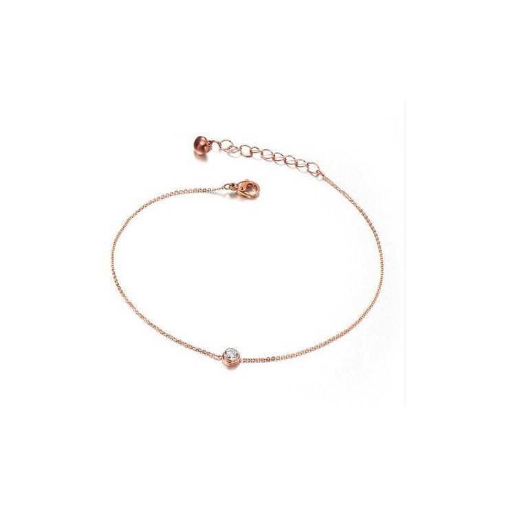 Women Simple Stainless Steel Rhinestone Solitaire Anklet