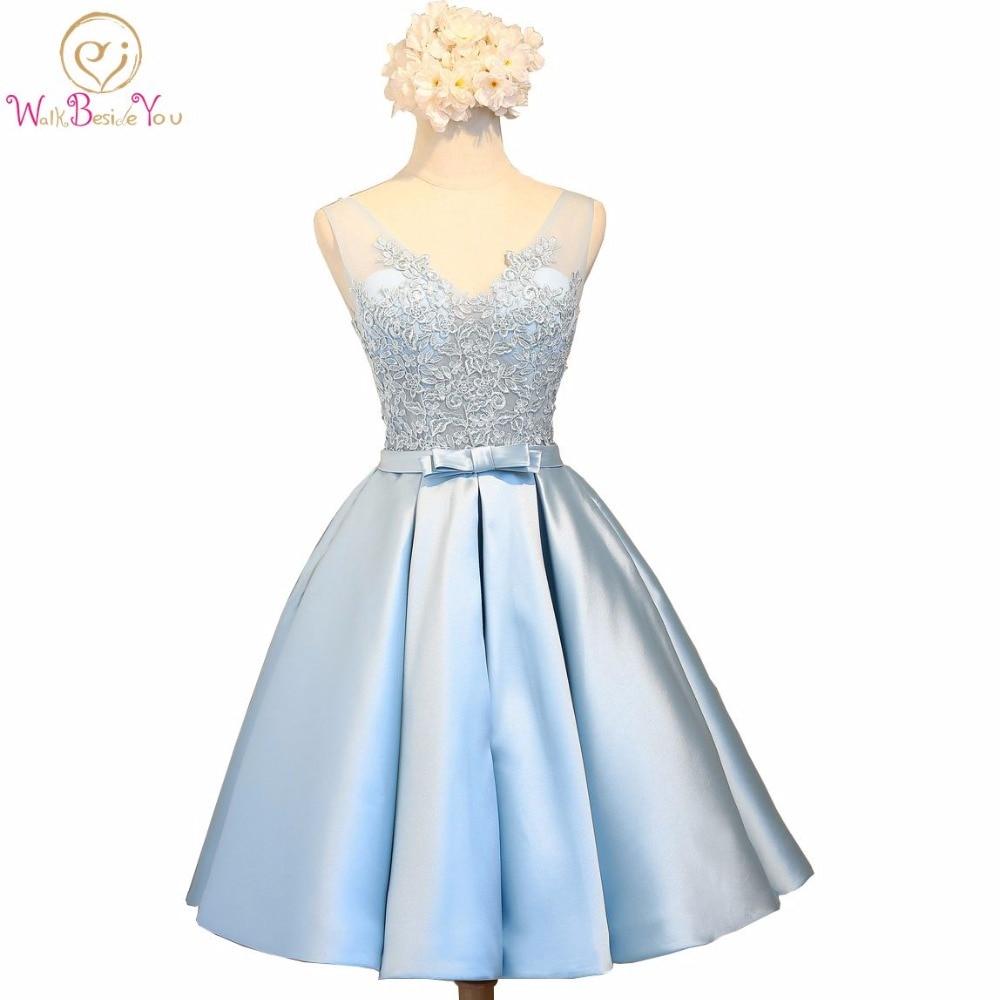 Walk Beside You Blue Prom Dresses with Lace Applique Transparent Deep V neck Knee Length Evening