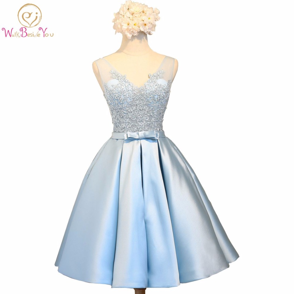Walk Beside You Blue   Prom     Dresses   with Lace Applique Transparent Deep V-neck Knee Length Evening Vestido Formatura Graduation