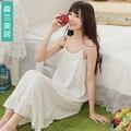 Белье летом Слинг белый Длинные рубашки Хлопок Кружева Женщины lounge ночные сорочки