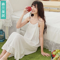 Lingerie summer Sling white Long nightdress Cotton Lace Women lounge  nightgowns