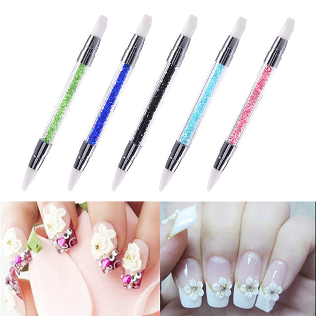 5 color 2 Way Nail Art Sculpture Pen Brushes Soft Silicone Carving ...