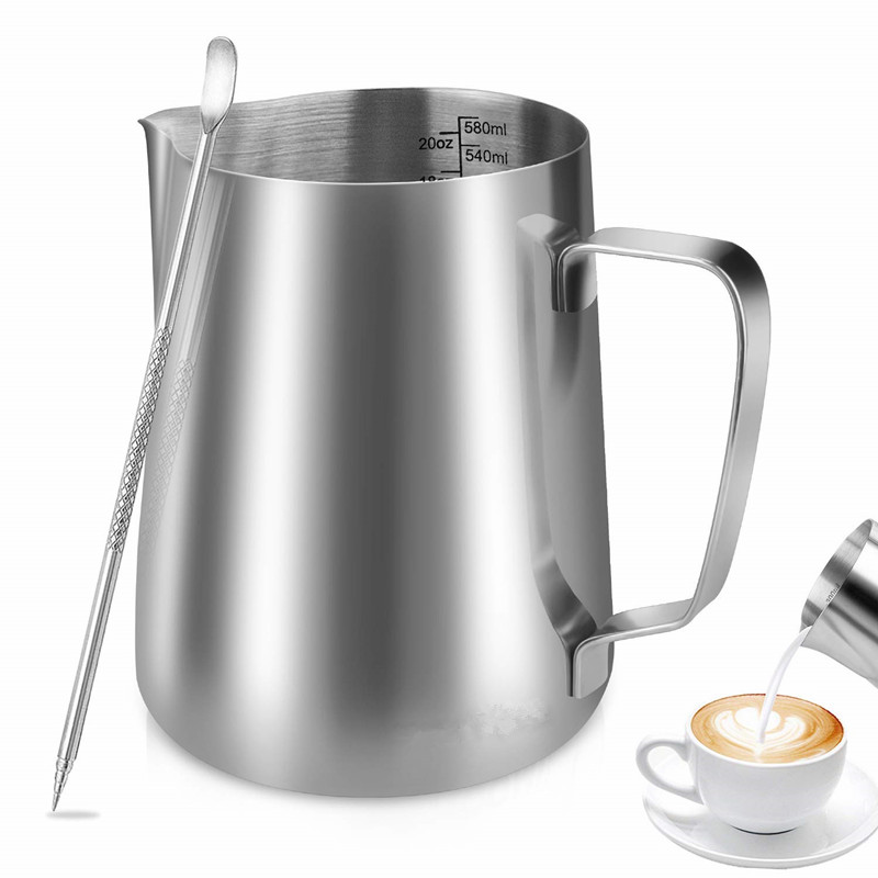 600ml/350ml/100ml  Stainless Steel Milk/Coffee/Cappuccino/Latte Art Frothing Pitcher Barista  Milk Jug Cup & Decorating Art Pen